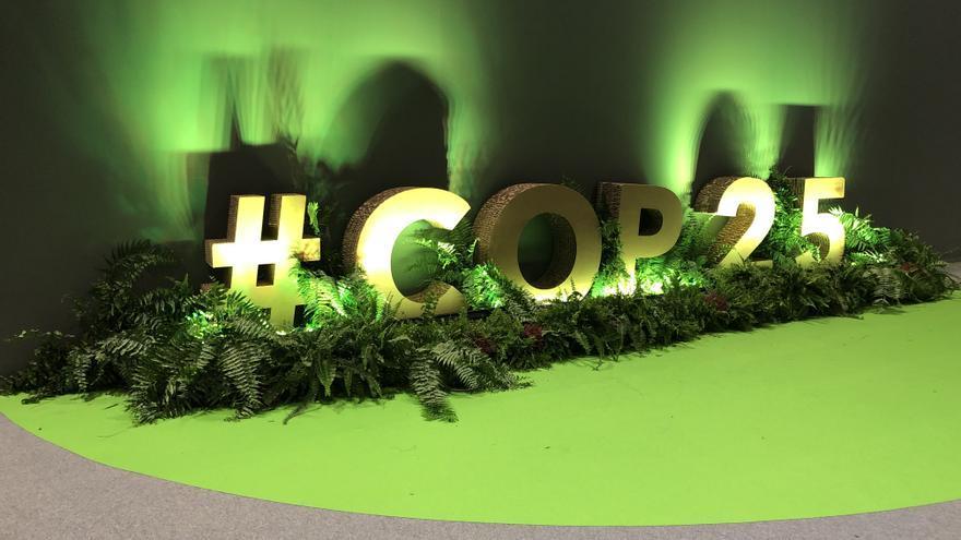 Decoración de la COP25 en la 'zona azul'