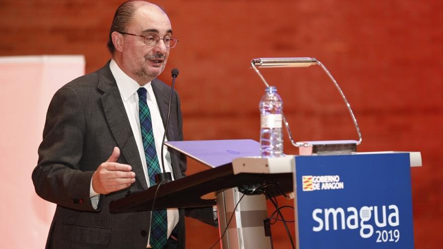 El presidente de Aragón, Javier Lambán, en su visita a Smagua