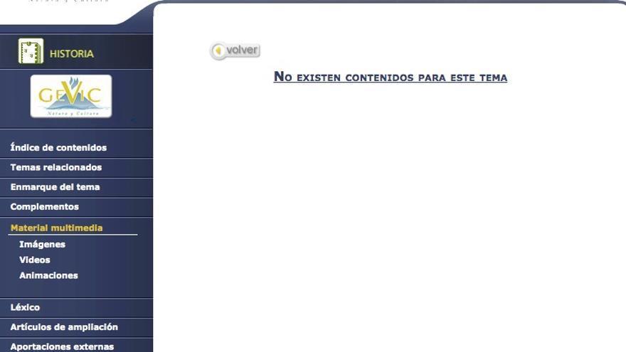 Subsección de 'Canarias en la actualidad', del apartado 'Historia' en la página web Gevic, sin contenido.