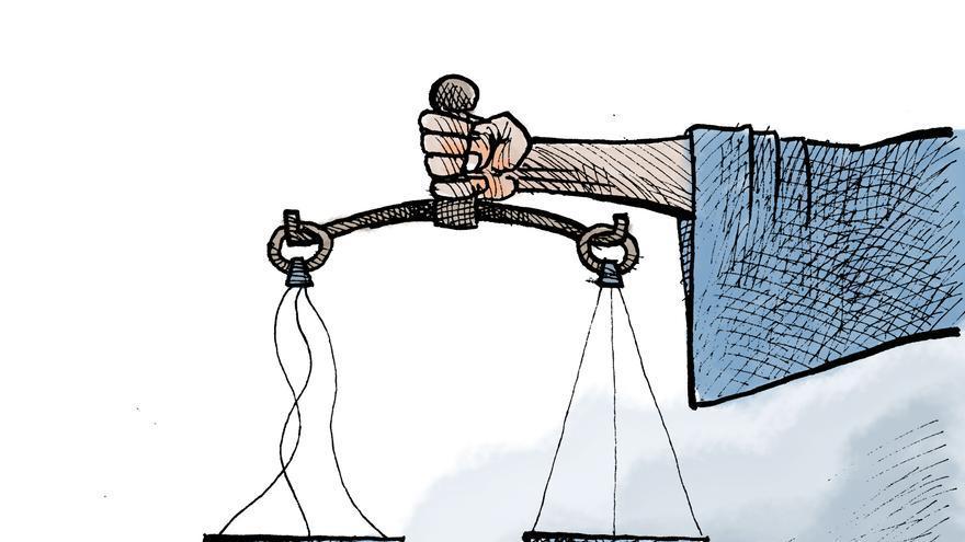 Dibujo realizado por el iraní Kianoush Ramezani, que denuncia los fallos en el sistema judicial