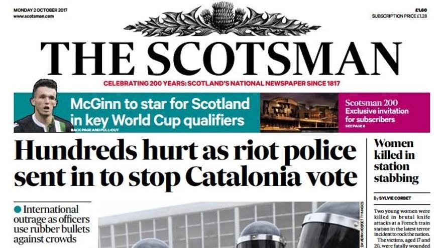 Portada de The Scotsman este 2 de octubre de 2017.
