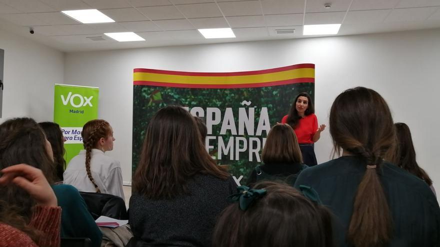 Rocío Monasterio en un acto de Vox en Madrid.