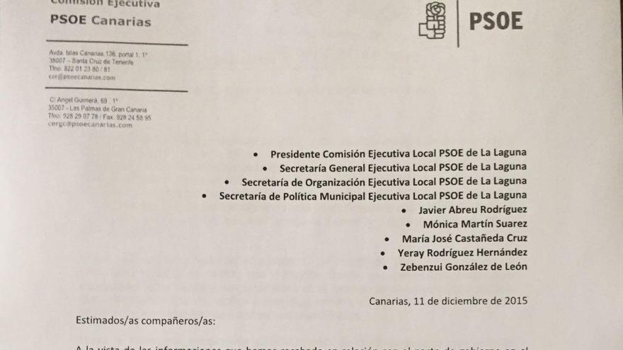 Carta del 11 de diciembre se 2015, remitida por Julio Cruz a dirigentes socialistas de La Laguna.