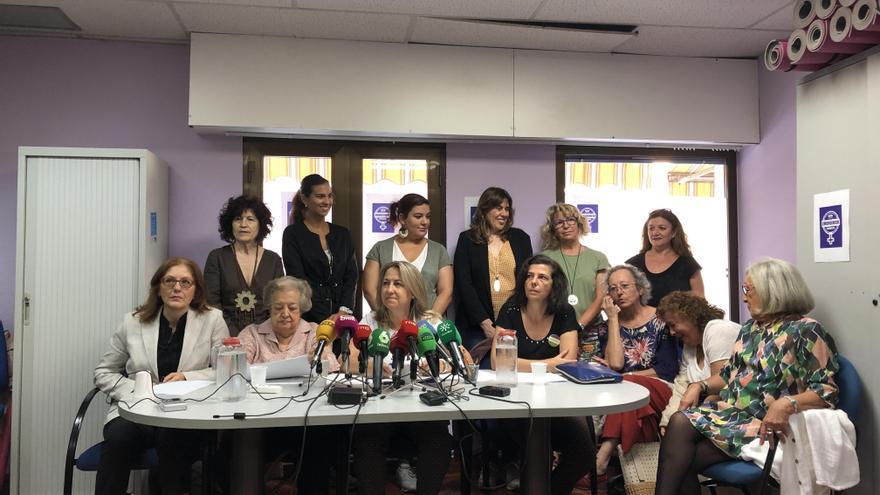 Las organizaciones feministas en la rueda de prensa celebrada en Madrid.