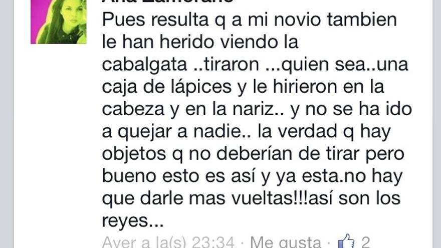 Vecina de Cartaya en su perfil de Facebook