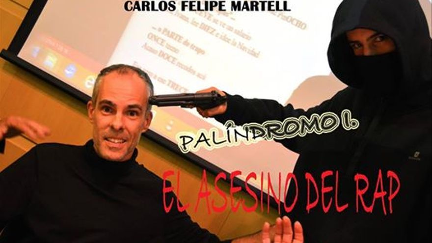 Carlos Felipe Martel junto al personaje de 'El asesino del rap'.