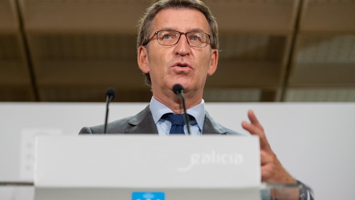 El titular del Gobierno gallego, Alberto Núñez Feijóo, durante la rueda de prensa del Consello de la Xunta celebrado el 1 de octubre de 2020