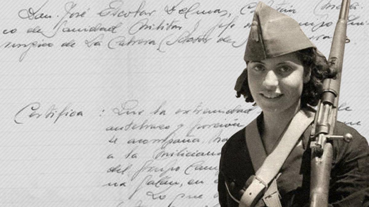 Rosario en una foto en el frente y el certificado hallado en La Cabrera.