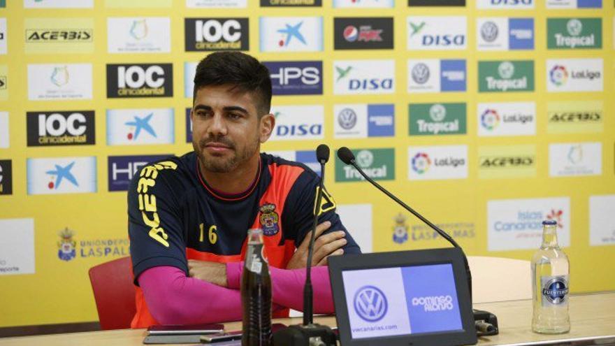 Aythami Artiles en la sala de prensa del Estadio de Gran Canaria.
