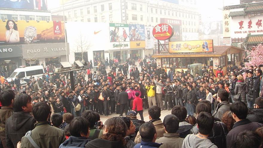 Manifestación en Wangfujing, Pekín, el 20 de febrero de 2011. ©JerryofWong cc by-sa 3.0