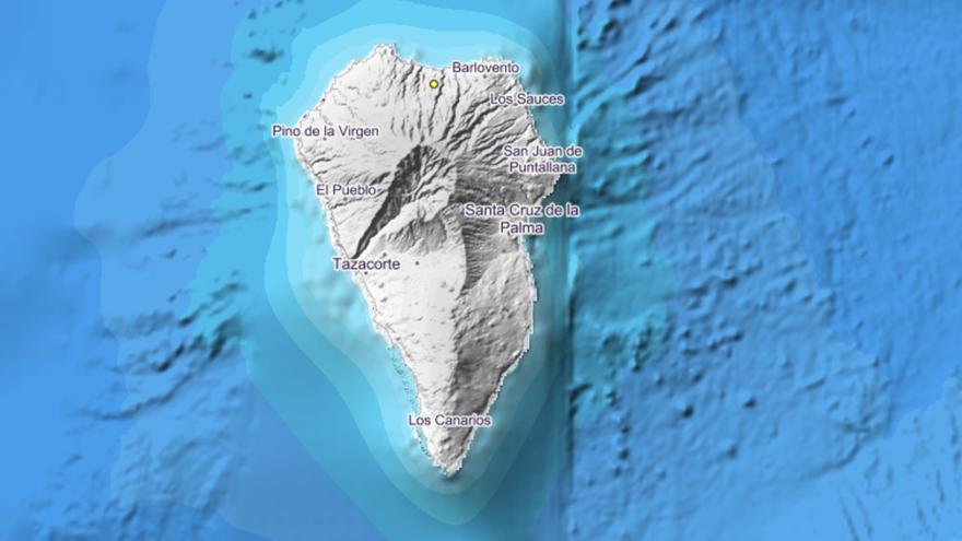 Mapa del IGN donde se indica con un punto el lugar en el que se ha registrado el sismo.