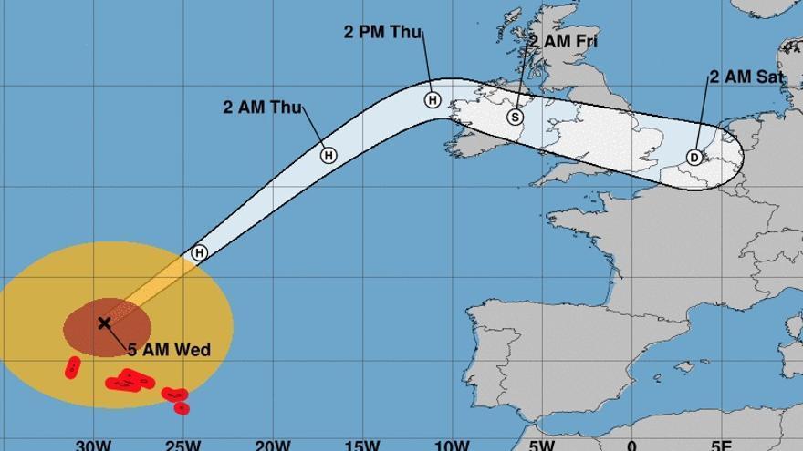 Trayectoria para los próximos días del huracán Lorenzo, que ha bajado a categoría 2