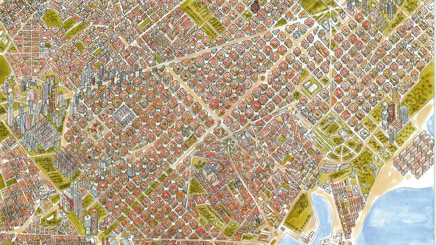 'Plano urbano Barcelona 2100' de Mikel Acilu, otra de las tres obras ganadoras
