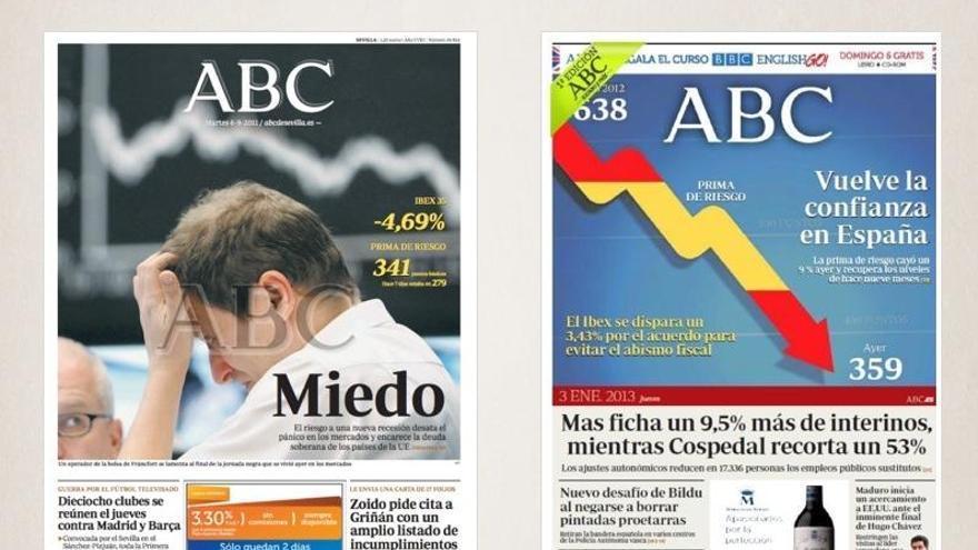 Portadas de ABC en septiembre de 2011 y enero de 2013.