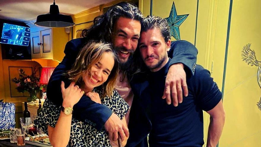 Reencuentro de Emilia Clarke, Jason Momoa y Kit Harington