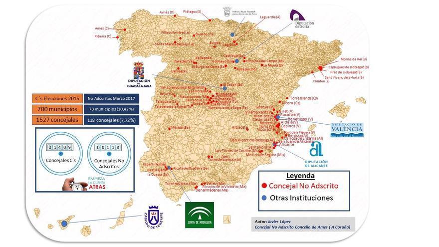 Mapa de cargos que han abandonado la disciplina de Ciudadanos en los últimos años