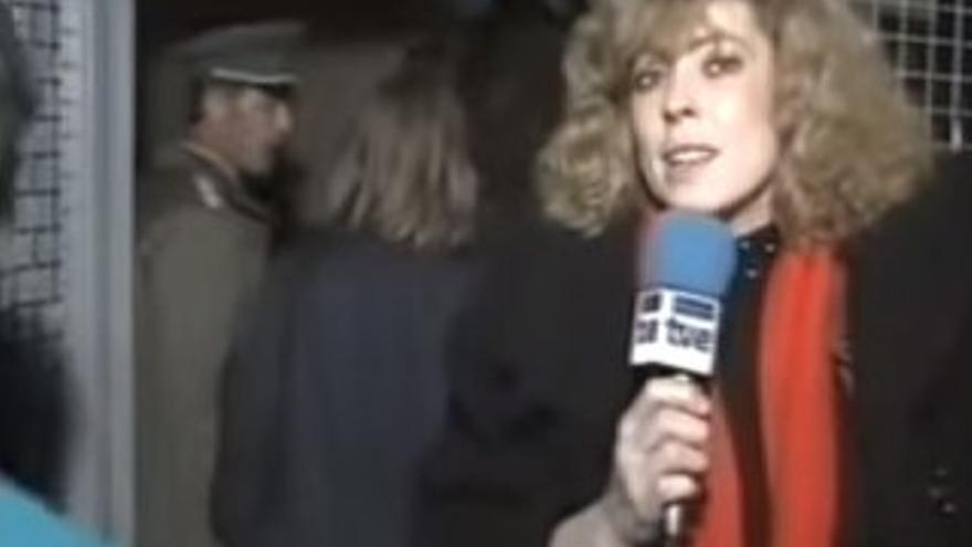 Imagen de la narración en directo de la caída del muro.