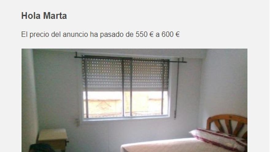Anuncio de un piso que ha subido el precio del alquiler.