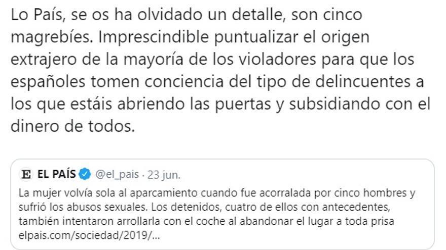 Imagen del tuit del canal oficial de Vox que ha denunciado la fiscalía
