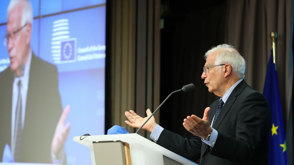 El jefe de la diplomacia europea, Josep Borrell, tras el consejo de ministros de Exteriores de la UE del 12 de julio de 2021, en Bruselas.