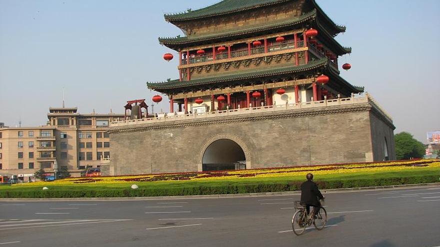 Torre de la Campana, justo en el centro de Xian. Reibai