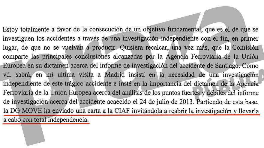 Carta de la comisaria europea de Transporte, Violeta Bulc, a las víctimas del Alvia