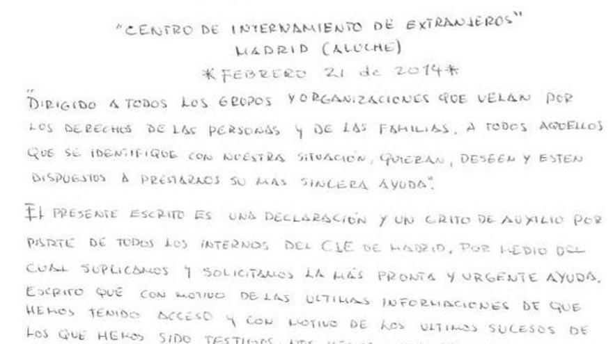 Inicio de la carta escrita de puño y letra y firmada por 94 internos del CIE de Madrid