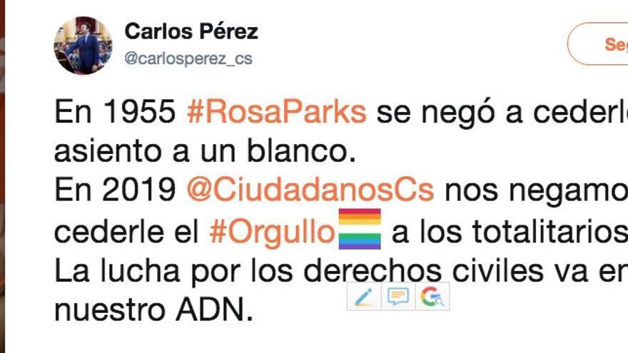 Tuit del senador de Ciudadanos Carlos Pérez.