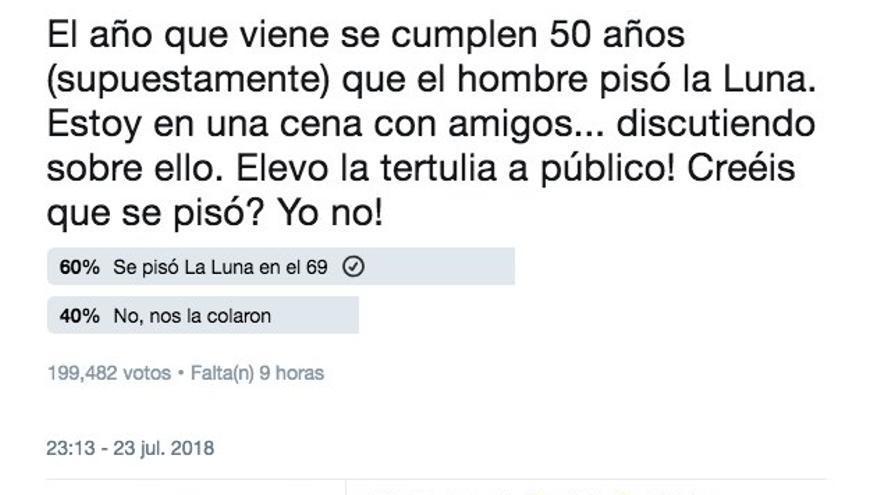 Tuit de Iker Casillas en el que sostiene que el hombre no pisó la Luna