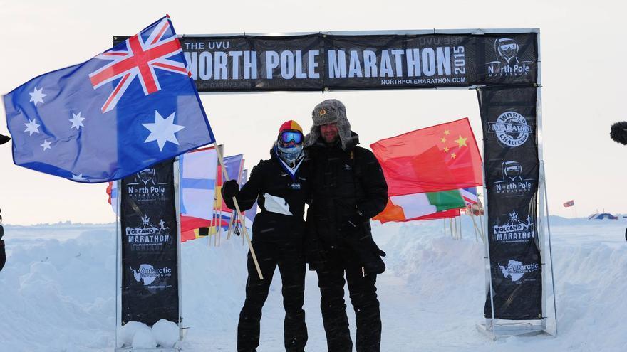 La corredora australiana Heather Hawkins, vencedora del North Pole Marathon 2015 (© North Pole Marathon).