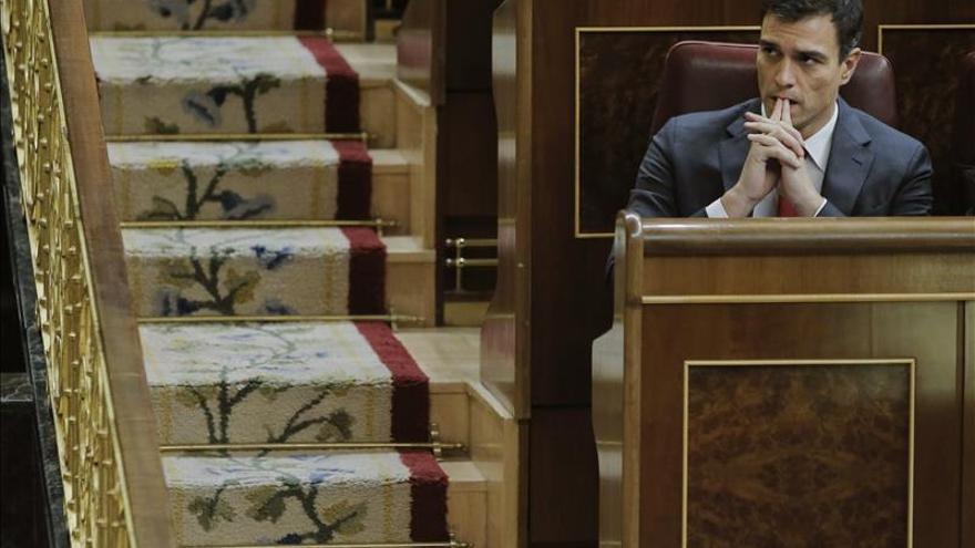 El secretario general del PSOE, Pedro Sánchez, durante el debate de totalidad del proyecto de ley de presupuestos generales del Estado. / Efe