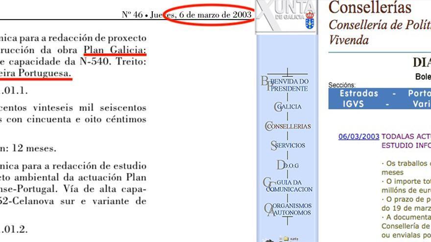 Diario Oficial de Galicia del 6 de marzo de 2003 y web de aquel mismo día de la Consellería de Política Territorial que dirigía Feijóo