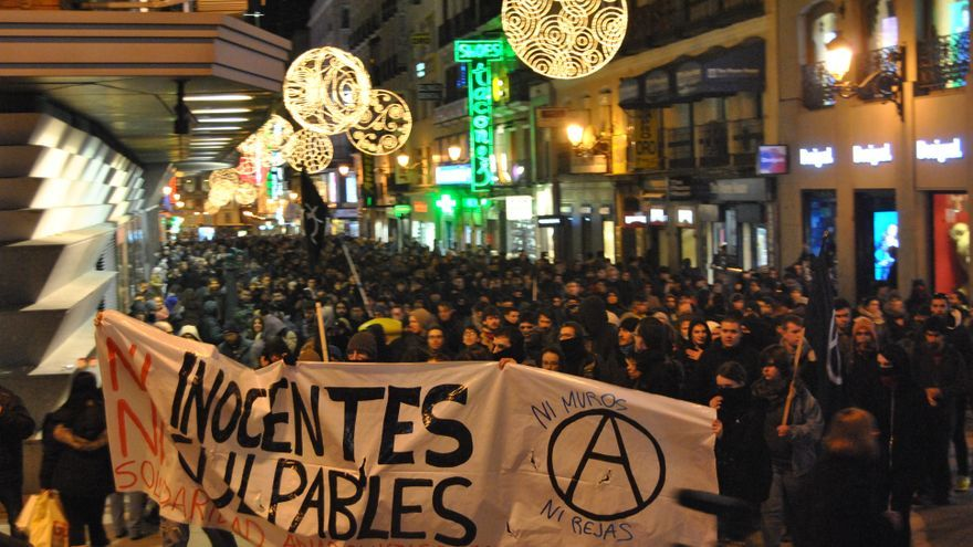 Cabecera de la protesta contra las detenciones del movimiento libertario / M.D.