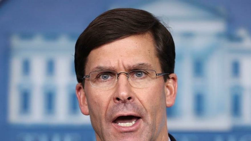 US Defense Secretary Mark Esper speaks during a press conference in the Brady Press Briefing Room of the White House, Washington, DC, USA, 01 April 2020.