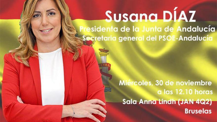 Cartel de los socialdemócratas para anunciar la intervención de Susana Díaz en el grupo socialdemócrata