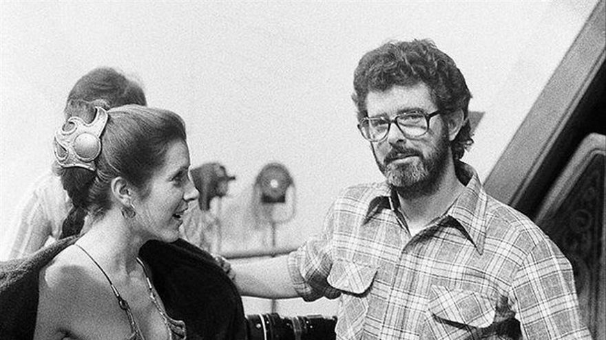 Carrie Fisher y George Lucas