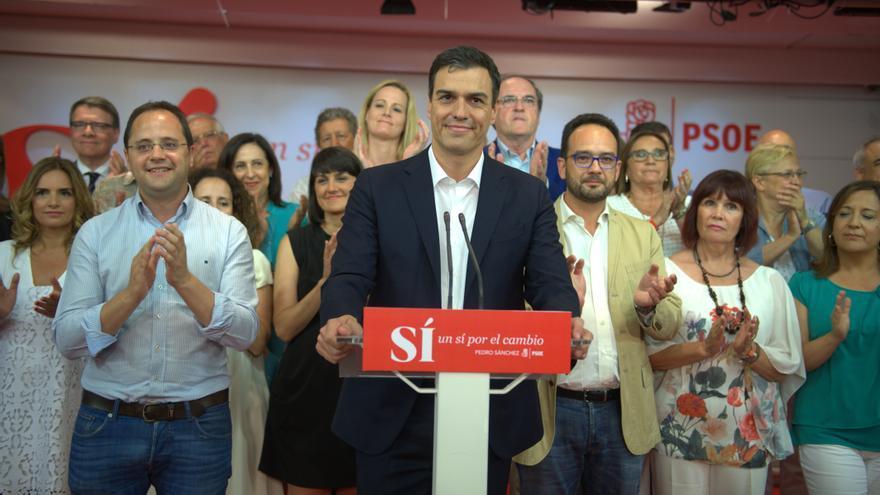 Los socialistas en la pasada noche electoral.
