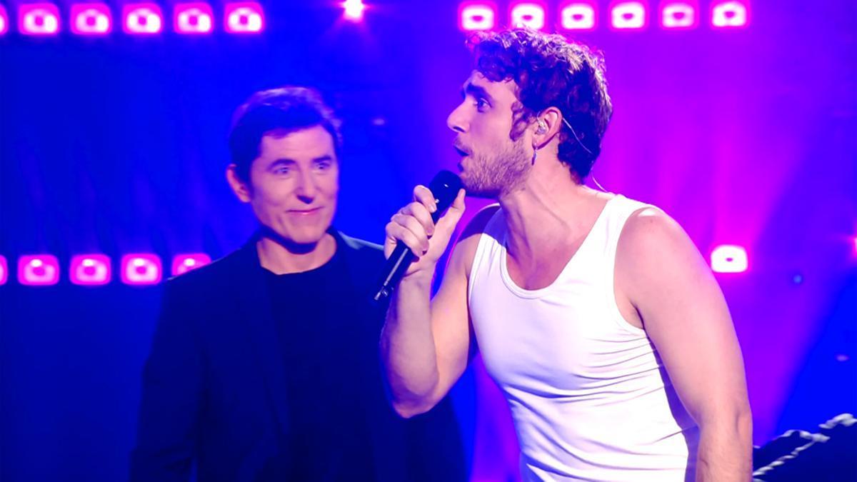 Manel Fuentes y Manu Pilas, en el plató de 'Veo cómo cantas'