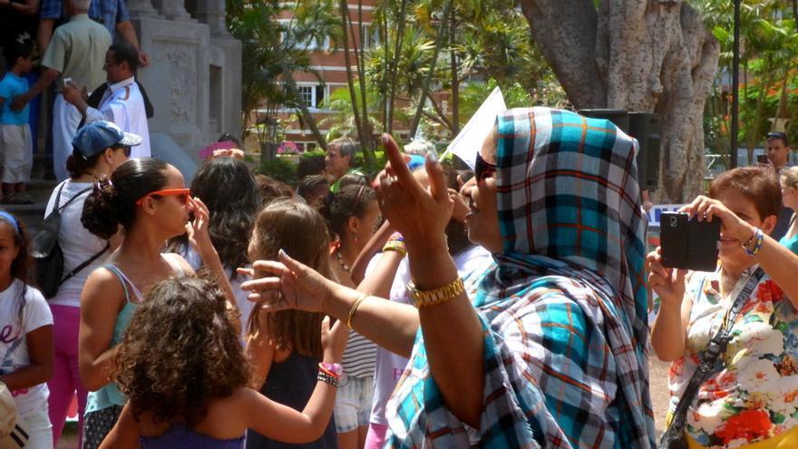 Un momento del acto en apoyo al pueblo saharaui, en Santa Cruz de Tenerife
