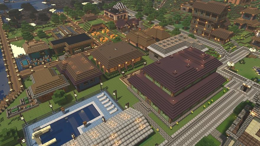 Vista aérea de un pueblo en el videojuego Minecraf, uno de los más populares en la actualidad.