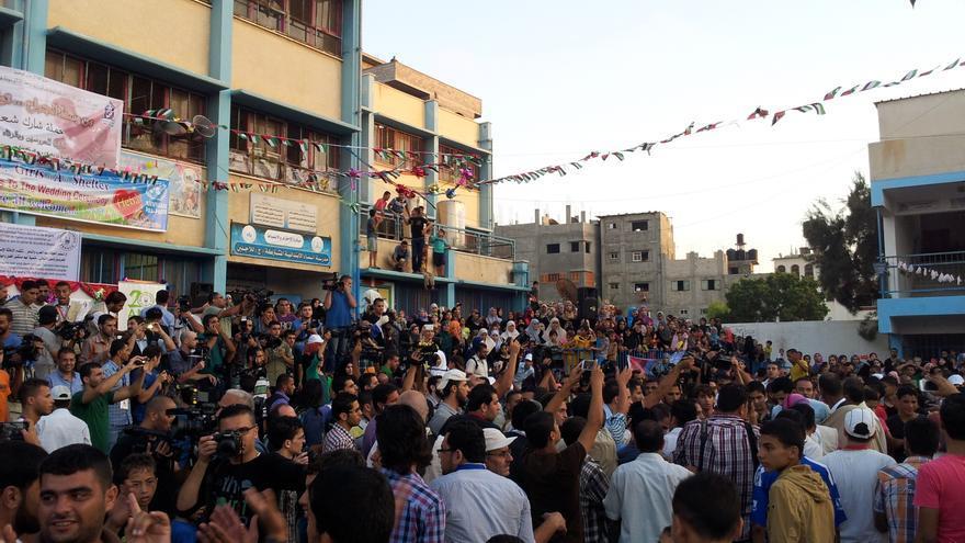 Patio del colegio de la UNRWA durante la boda. Foto: Isabel Pérez