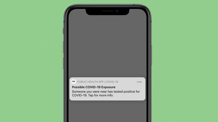 Ejemplo de la notificación que se recibe en un iPhone ante un caso de COVID-19 cercano