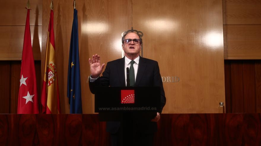 El portavoz del PSOE, Ángel Gabilondo, comparece en rueda de prensa después de una reunión de la Junta de Portavoces de la Asamblea de Madrid tras el anuncio regional de la convocatoria de elecciones, en Madrid (España), a 10 de marzo de 2021. La reunión