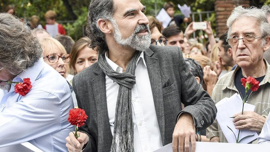 Jordi Cuixart, encabezando la protesta del 3 de octubre