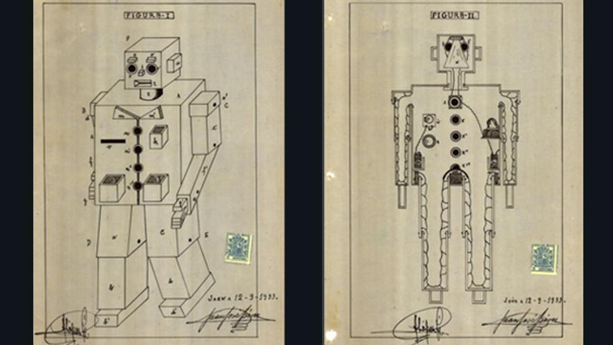 """Imágenes de la patente del """"muñeco mecánico publicitario"""" de 1933"""