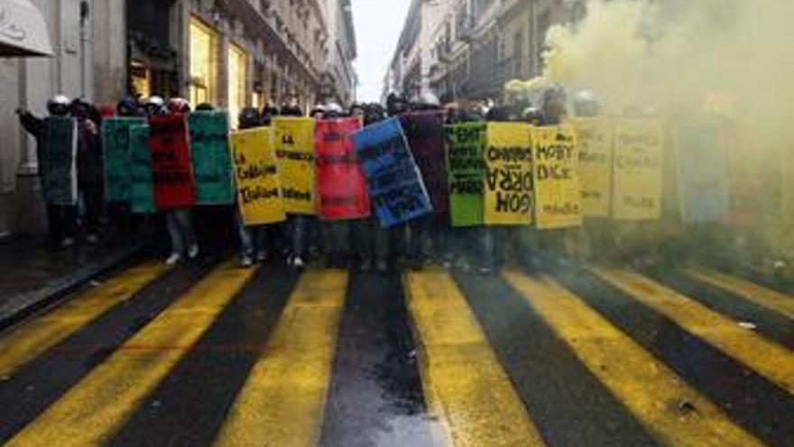 Manifestantes en Italia