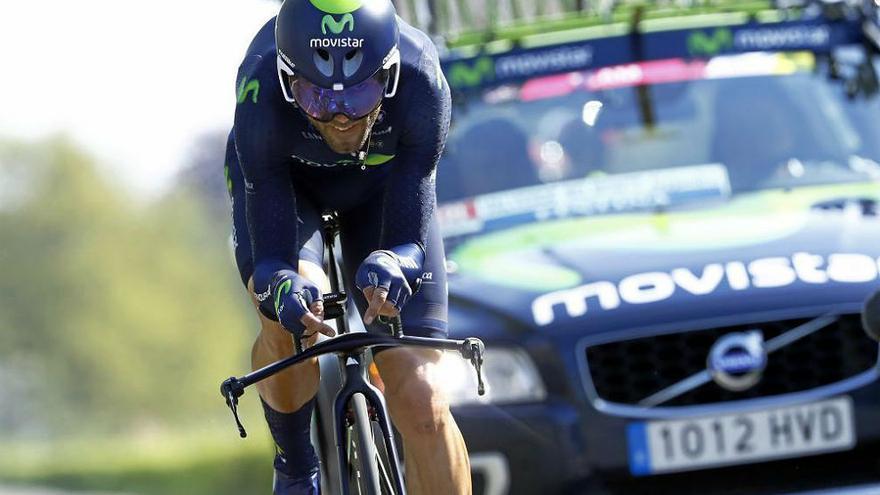 Alejandro Valverde, durante la disputa de una etapa contra el reloj.