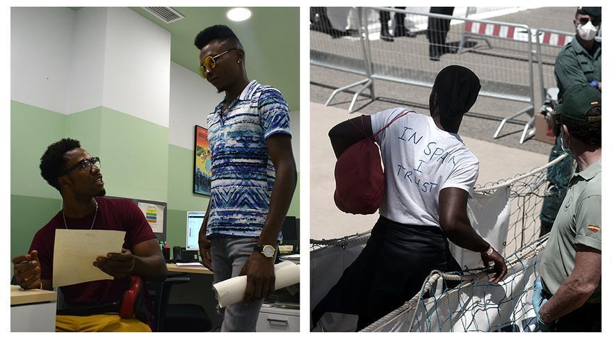 """A la derecha, Mok desembarcando del Aquarius con una camiseta en la que se puede leer: """"In Spain I trust""""; a la izquierda en las oficinas de Cear (sentado) junto a Massoudou, que también fue rescatado por el barco de SOS Mediterranée"""
