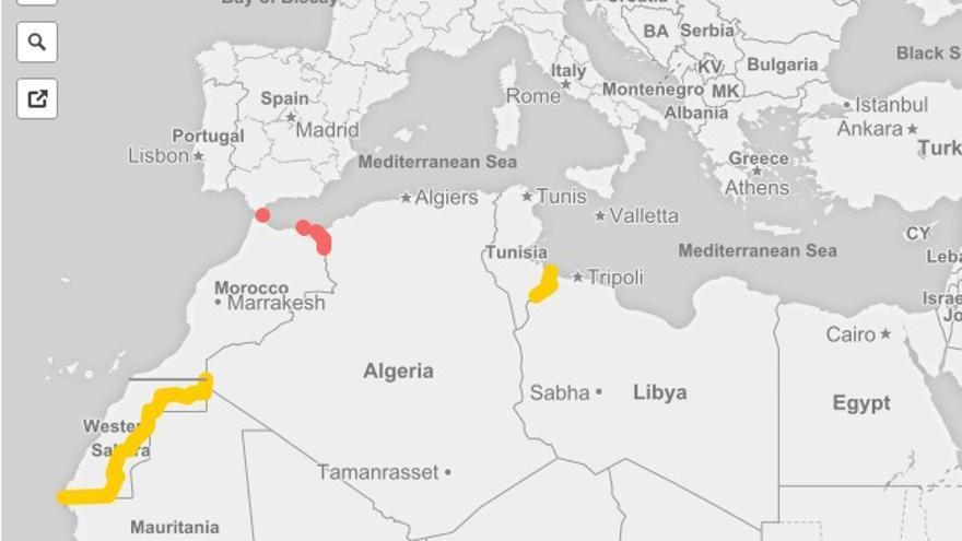 Mapa Marruecos Ceuta Y Melilla.Mapa Las Cinco Vallas Que Sellan Fronteras En El Magreb