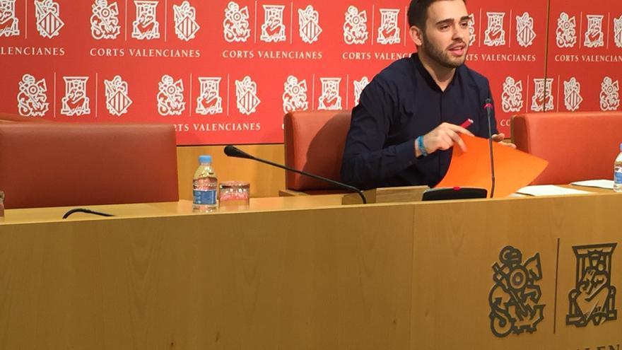 Fran Ferri, portavoz de Compromís, en las Corts Valencianes.